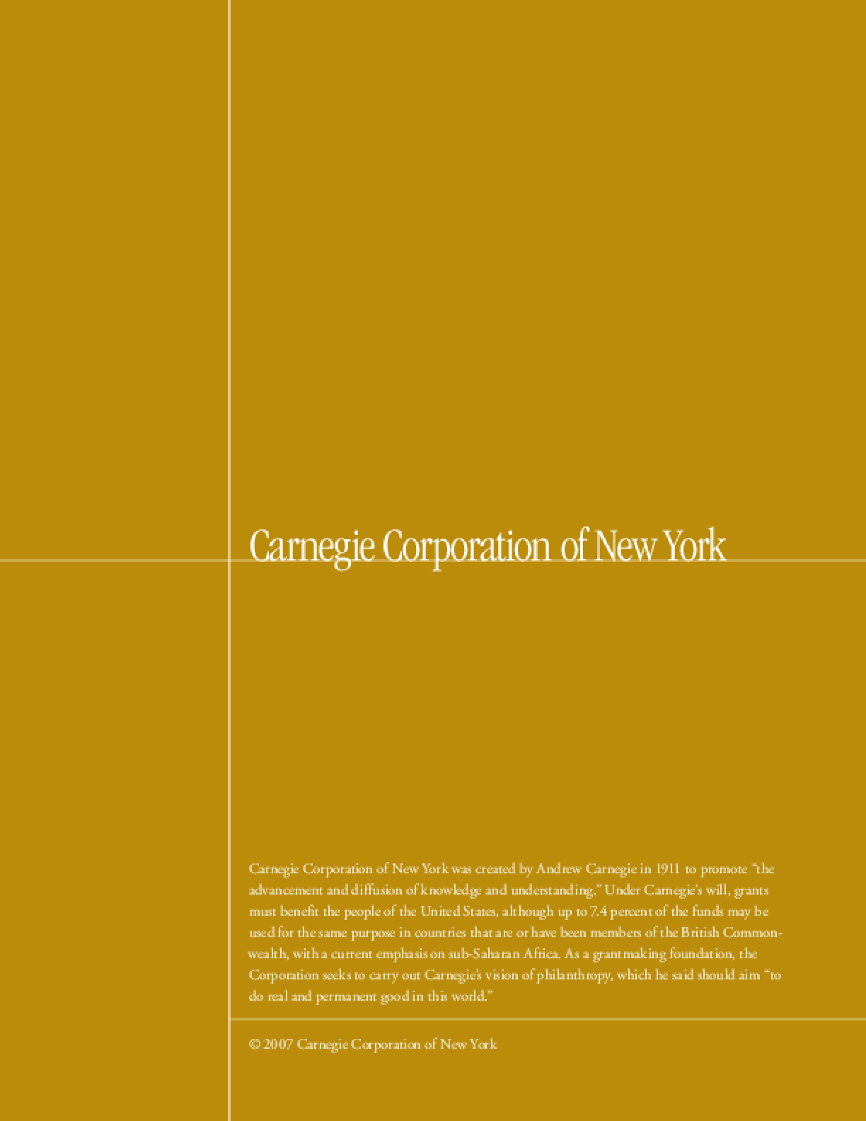 Carnegie Corporation of New York - 2006 Annual Report