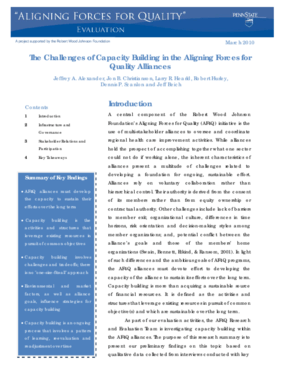 The Challenges of Capacity Building in the Aligning Forces for Quality Alliances