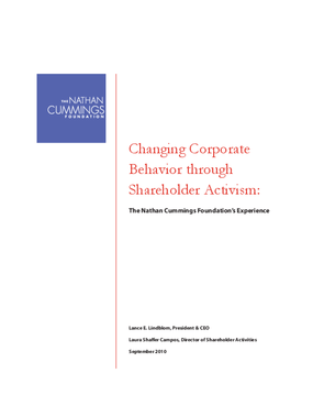 Changing Corporate Behavior Through Shareholder Activism: The Nathan Cummings Foundation's Experience