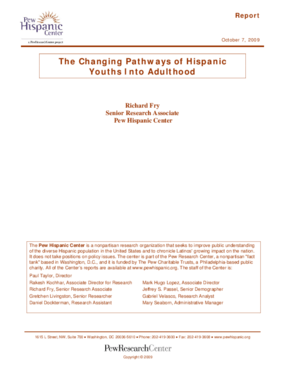 The Changing Pathways of Hispanic Youths Into Adulthood