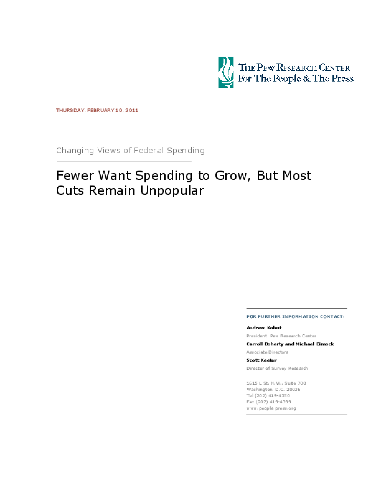 Changing Views of Federal Spending: Fewer Want Spending to Grow, But Most Cuts Remain Unpopular