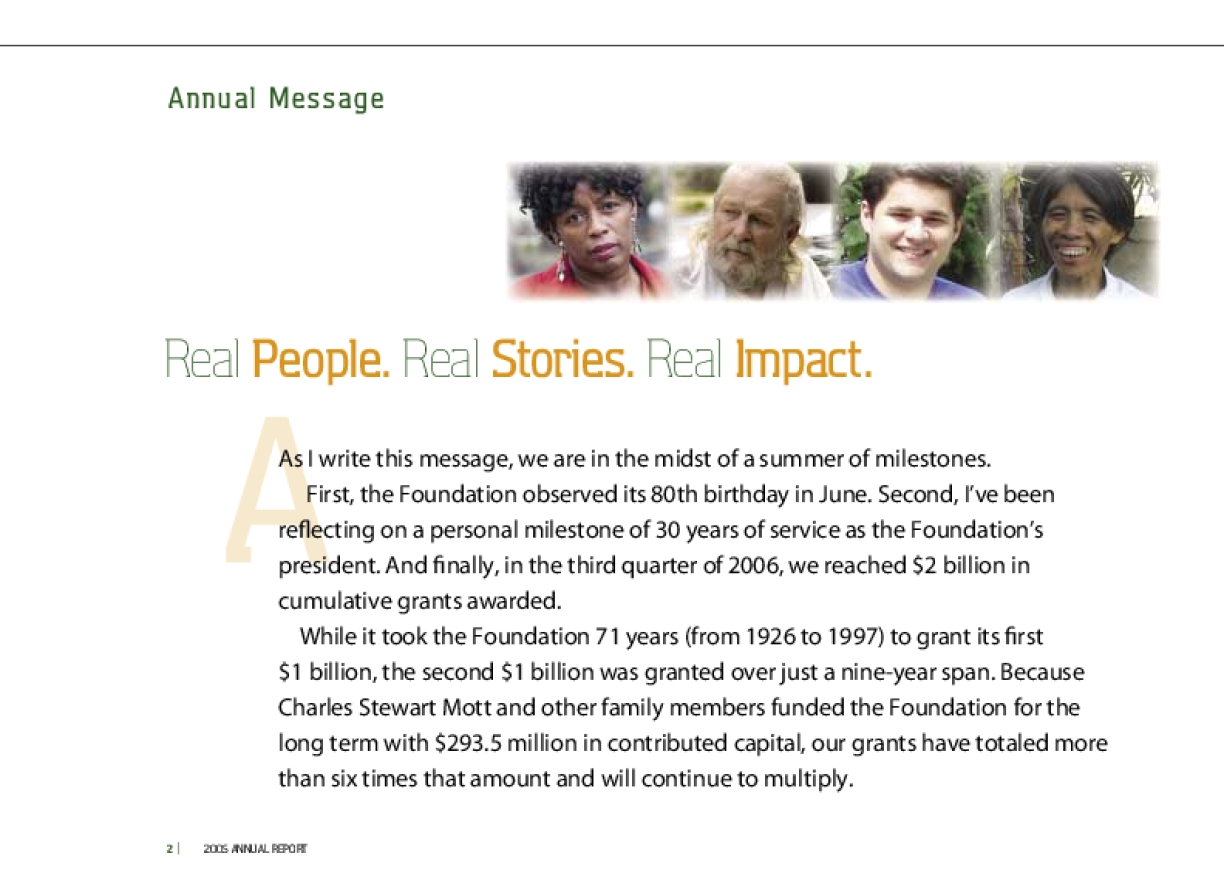 Charles Stewart Mott Foundation - 2005 Annual Report: Real People. Real Stories. Real Impact