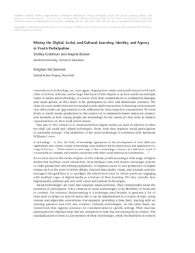 Mixing the Digital, Social, and Cultural: Learning, Identity, and Agency in Youth Participation