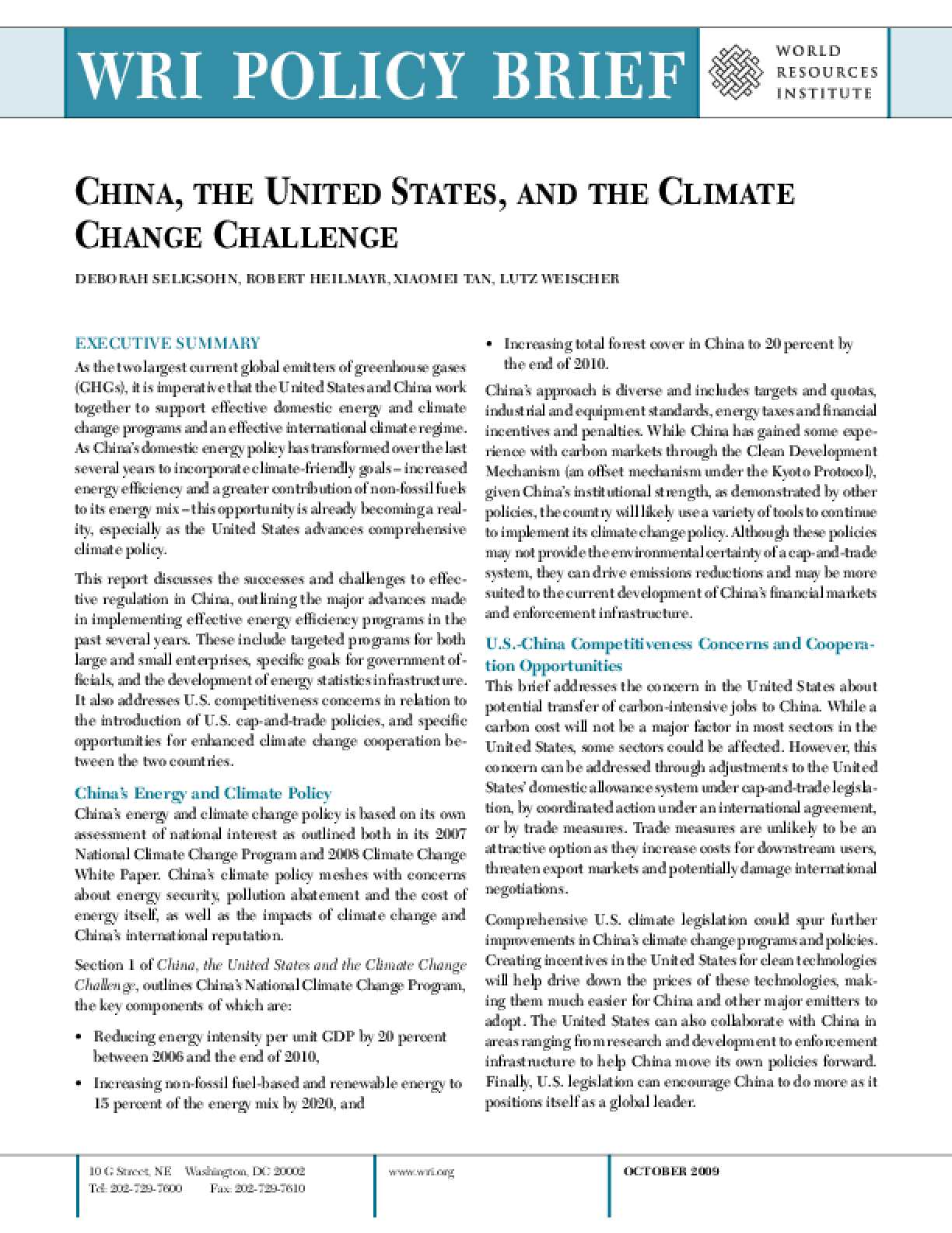 China, the United States, and the Climate Change Challenge