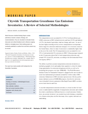 Citywide Transportation Greenhouse Gas Emissions Inventories: A Review of Selected Methodologies