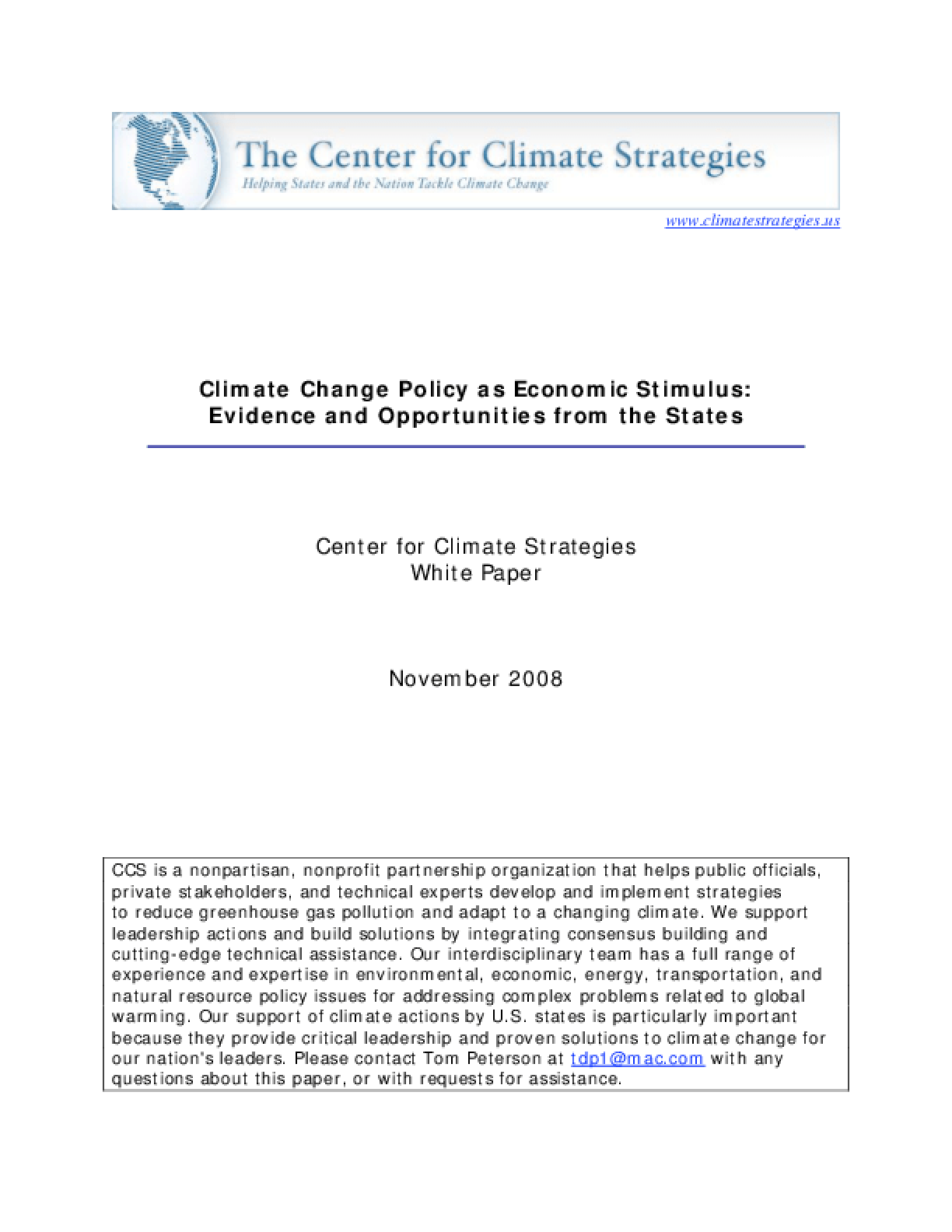 Climate Change Policy as Economic Stimulus: Evidence and Opportunities From the States