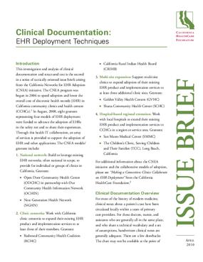 Clinical Documentation: EHR Deployment Techniques
