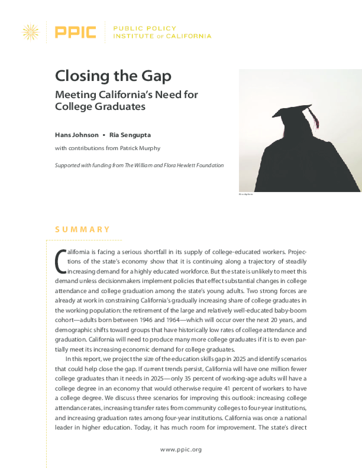 Closing the Gap: Meeting California's Need for College Graduates