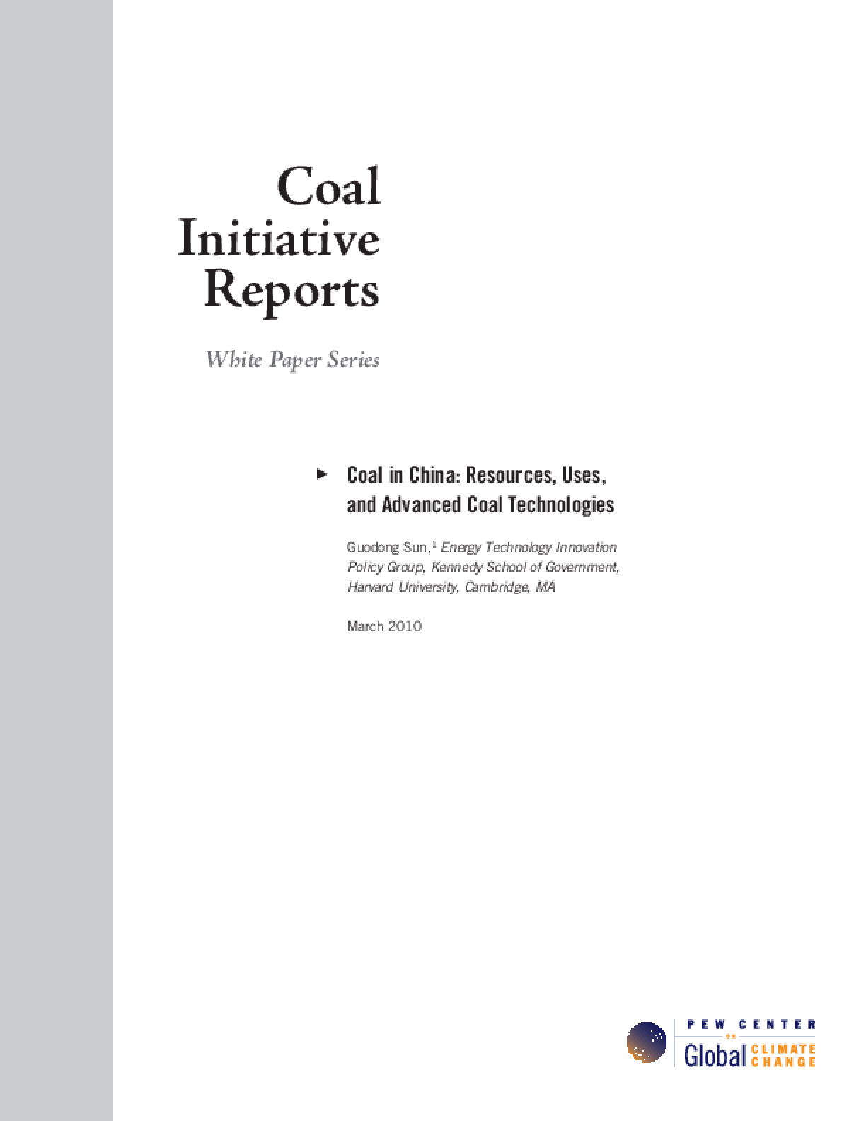 Coal in China: Resources, Uses, and Advanced Coal Technologies