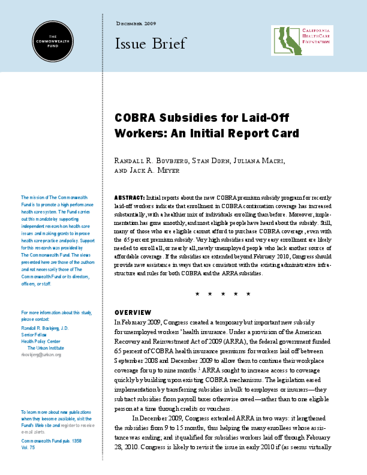 COBRA Subsidies for Laid-Off Workers: An Initial Report Card