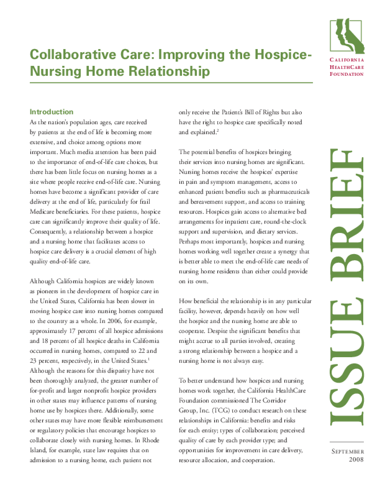 Collaborative Care: Improving the Hospice-Nursing Home Relationship