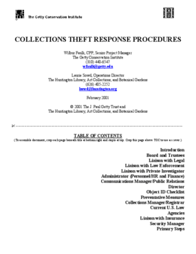 Collections Theft Response Procedures