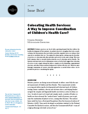 Colocating Health Services: A Way to Improve Coordination of Children's Health Care?