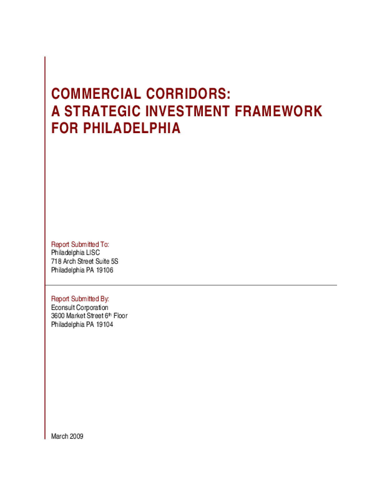 Commercial Corridors: A Strategic Investment Framework for Philadelphia