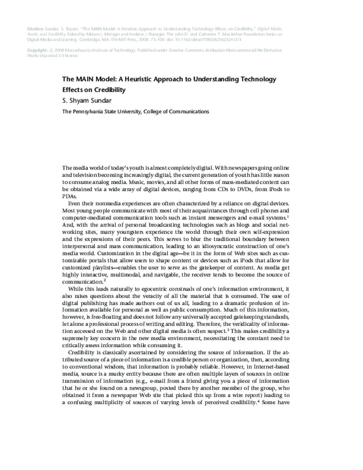 The MAIN Model: A Heuristic Approach to Understanding Technology Effects on Credibility