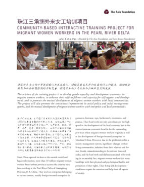 Community-Based Interactive Training Project for Migrant Women Workers in the Pearl River Delta