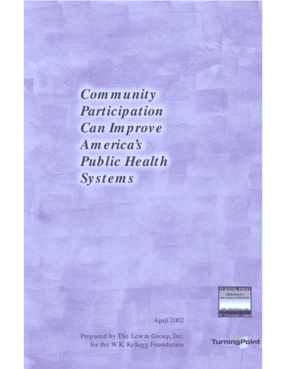 Community Participation Can Improve America's Public Health Systems