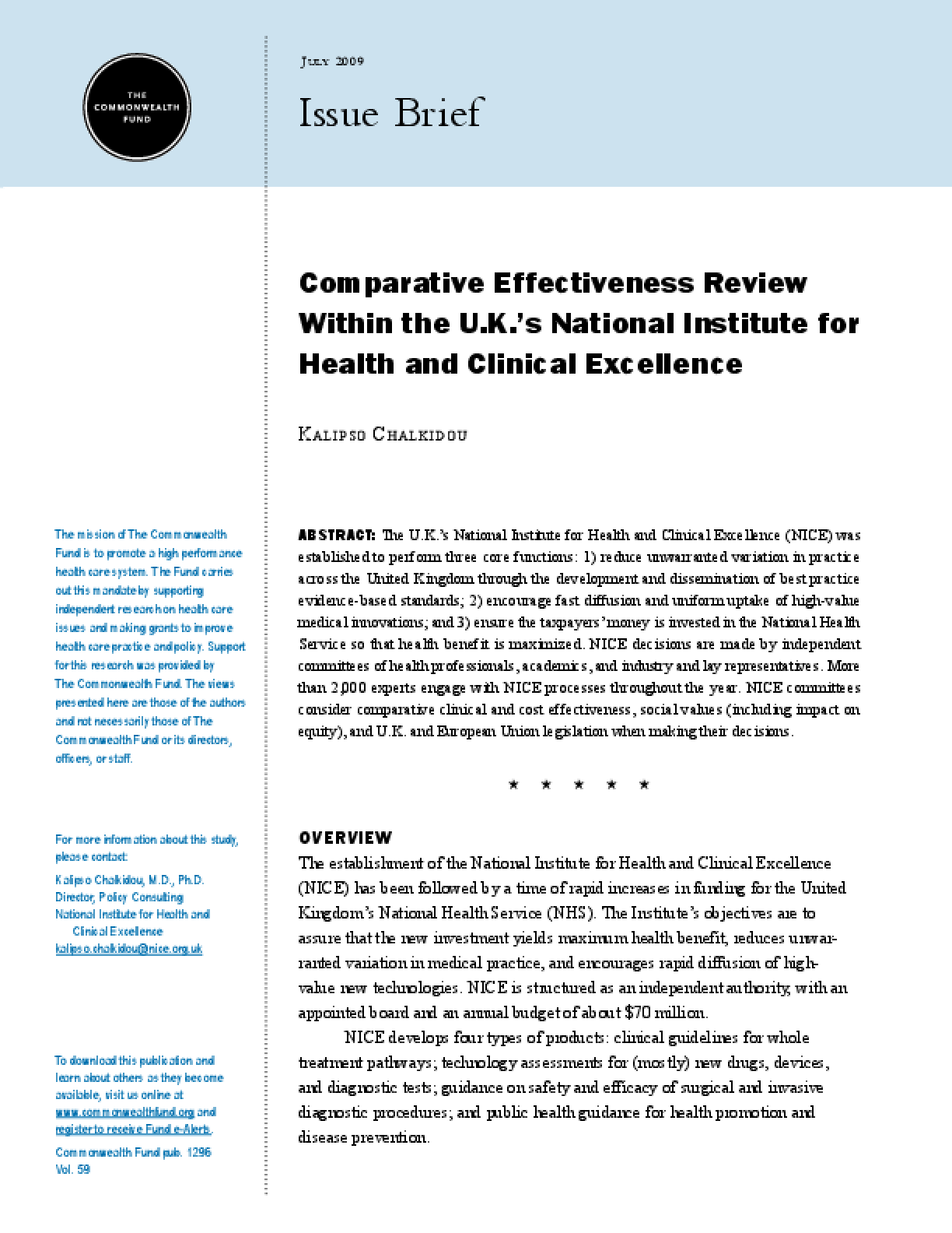 Comparative Effectiveness Review Within the U.K.'s National Institute for Health and Clinical Excellence