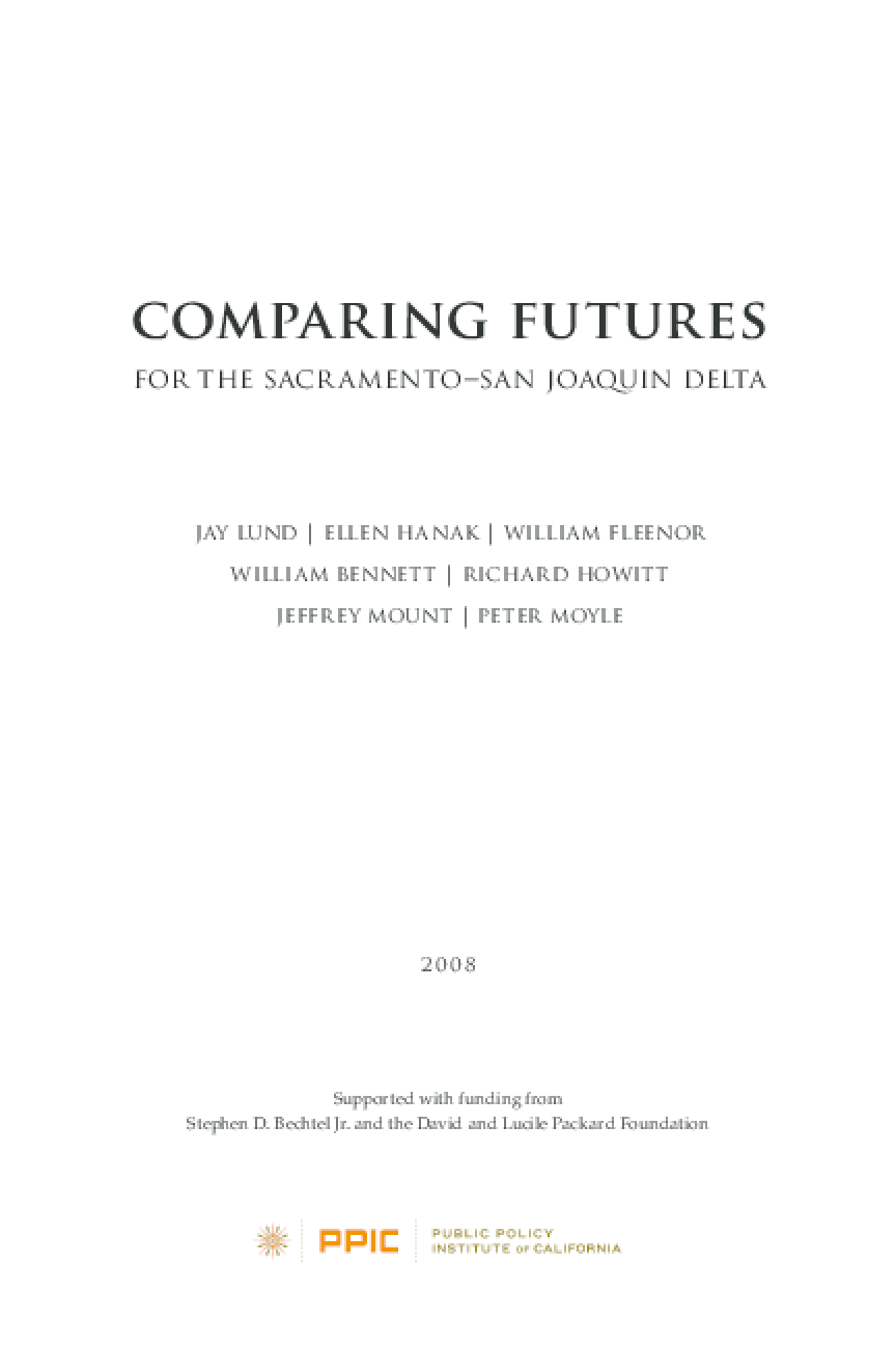 Comparing Futures for the Sacramento-San Joaquin Delta