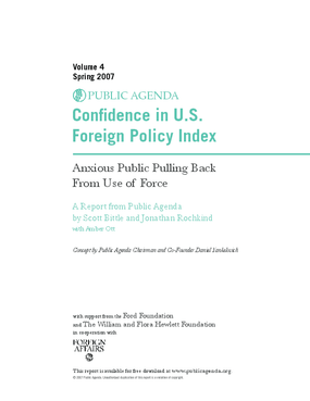 Confidence in U.S. Foreign Policy Index: Anxious Public Pulling Back from Use of Force