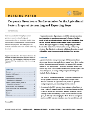 Corporate Greenhouse Gas Inventories for the Agricultural Sector: Proposed Accounting and Reporting Steps