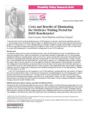 Costs and Benefits of Eliminating the Medicare Waiting Period for SSDI Beneficiaries