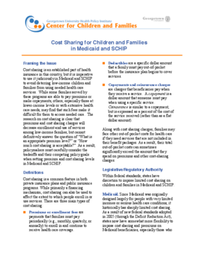 Cost Sharing for Children and Families in Medicaid and SCHIP