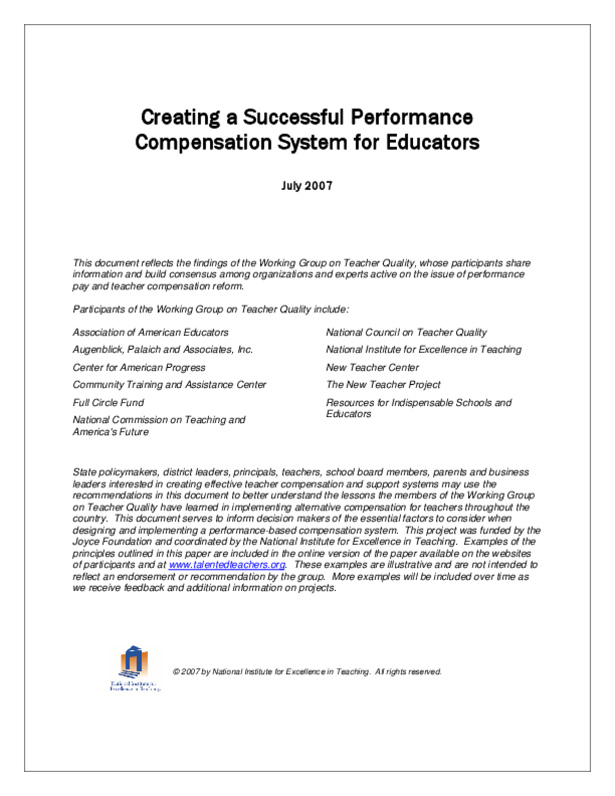 Creating a Successful Performance Compensation System for Educators