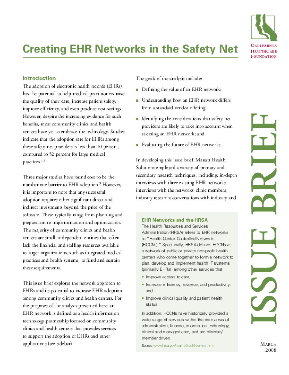 Creating EHR Networks in the Safety Net