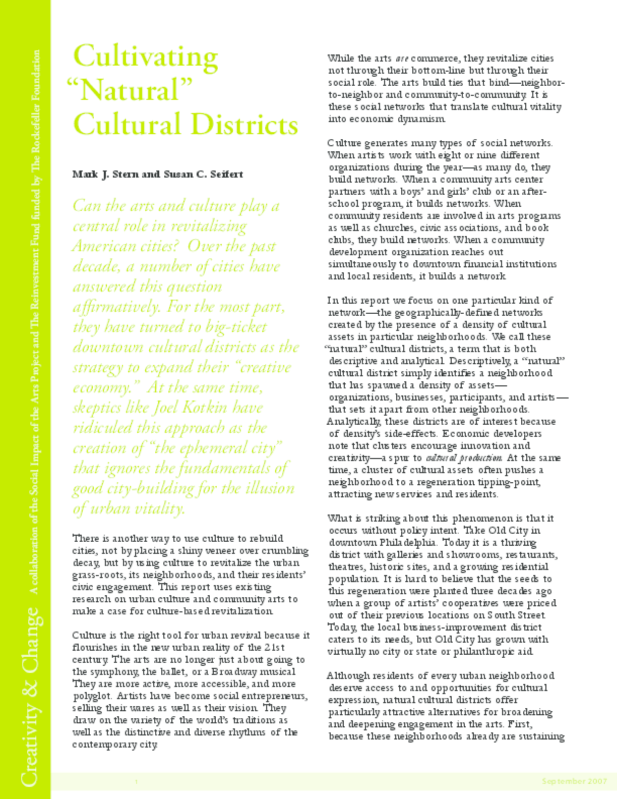 "Cultivating ""Natural"" Cultural Districts"