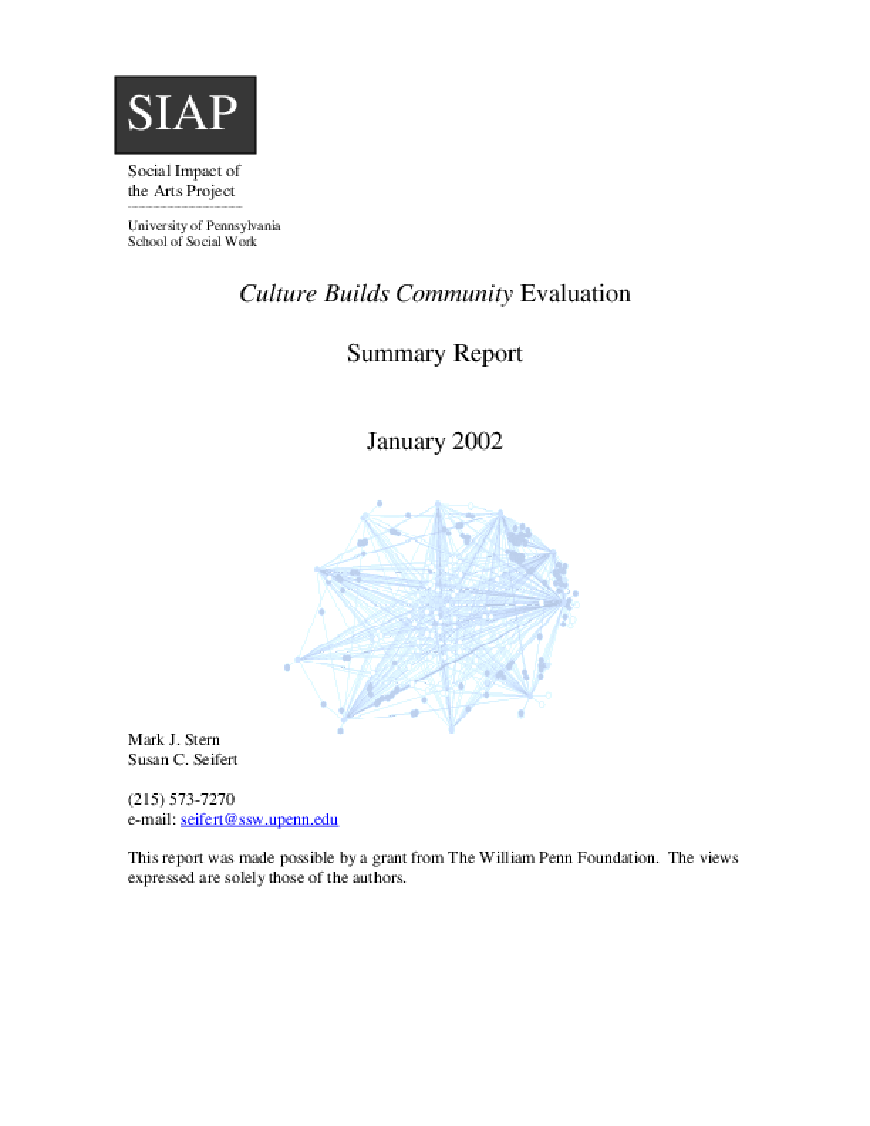 Culture Builds Communities, Evaluation: Summary Report