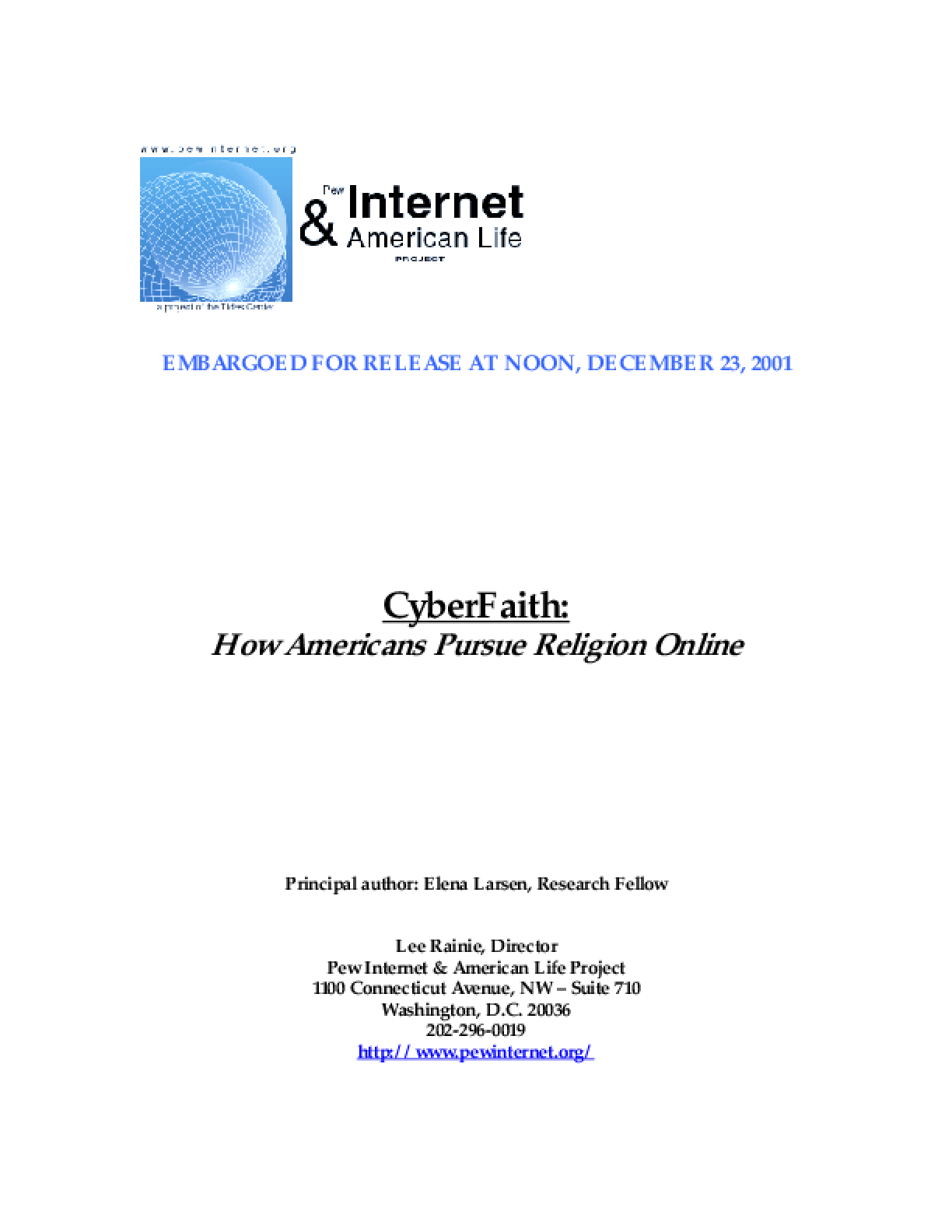 CyberFaith: How Americans Pursue Religion Online