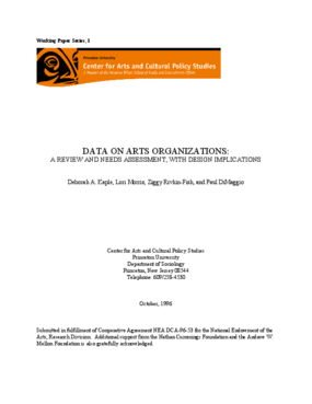 Data on Arts Organizations: A Review and Needs Assessment, With Design Implications