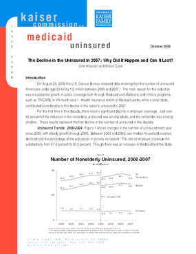 The Decline in the Uninsured in 2007: Why Did It Happen and Can It Last?