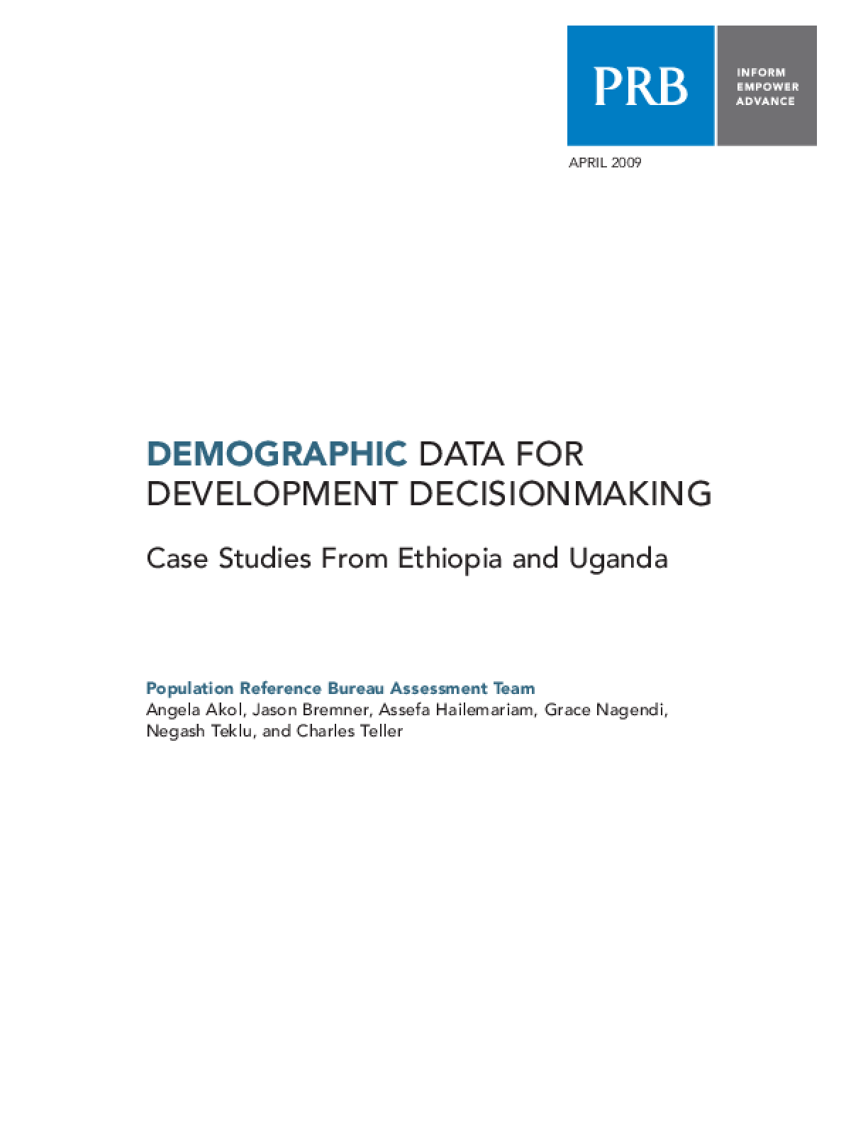 Demographic Data for Development Decisionmaking: Case Studies From Ethiopia and Uganda