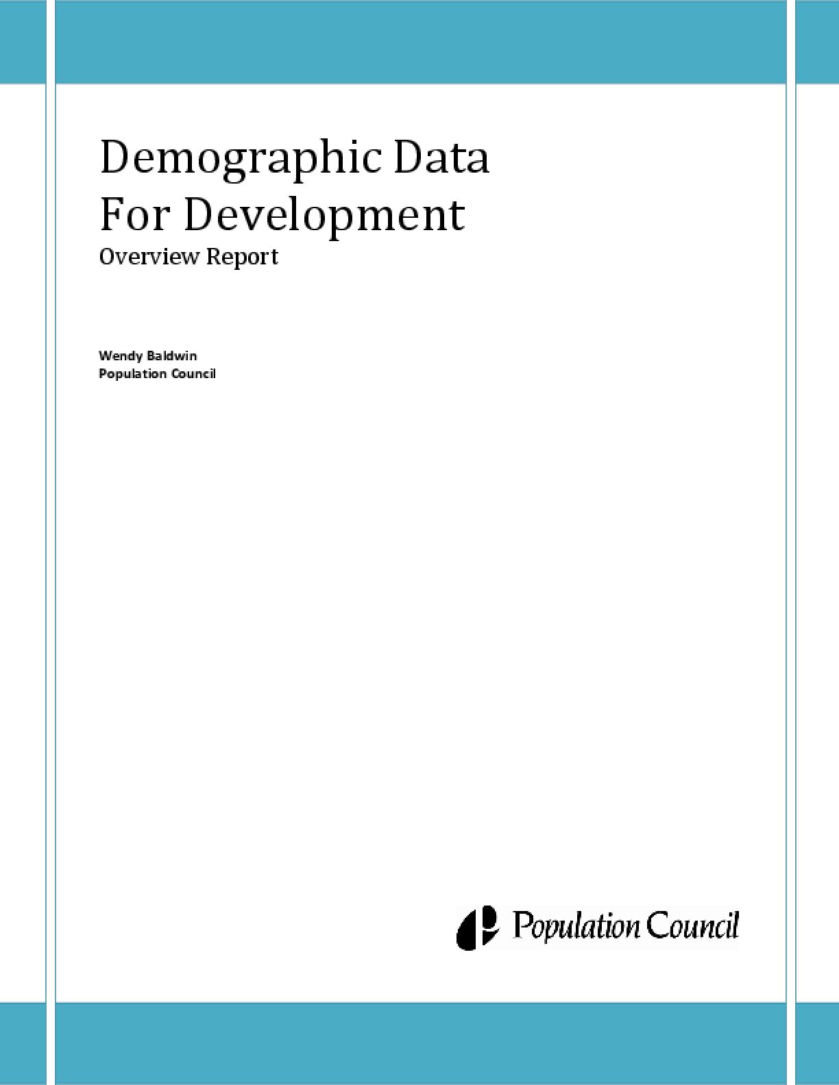Demographic Data for Development: Overview Report