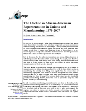 The Decline in African-American Representation in Unions and Manufacturing, 1979-2007