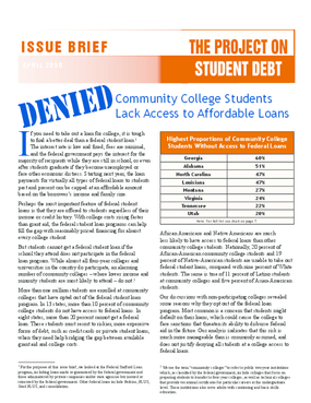Denied: Community College Students Lack Access to Affordable Loans