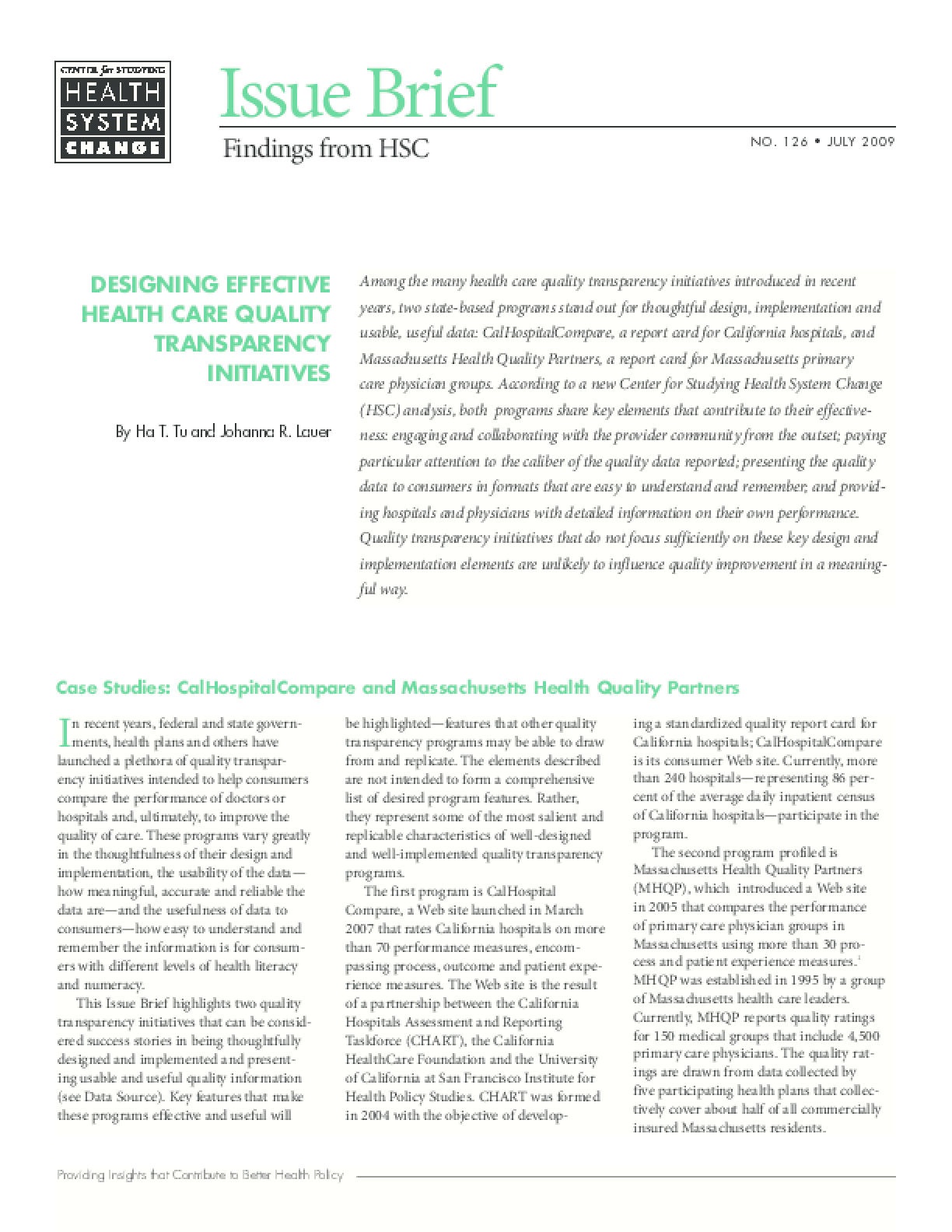 Designing Effective Health Care Quality Transparency Initiatives