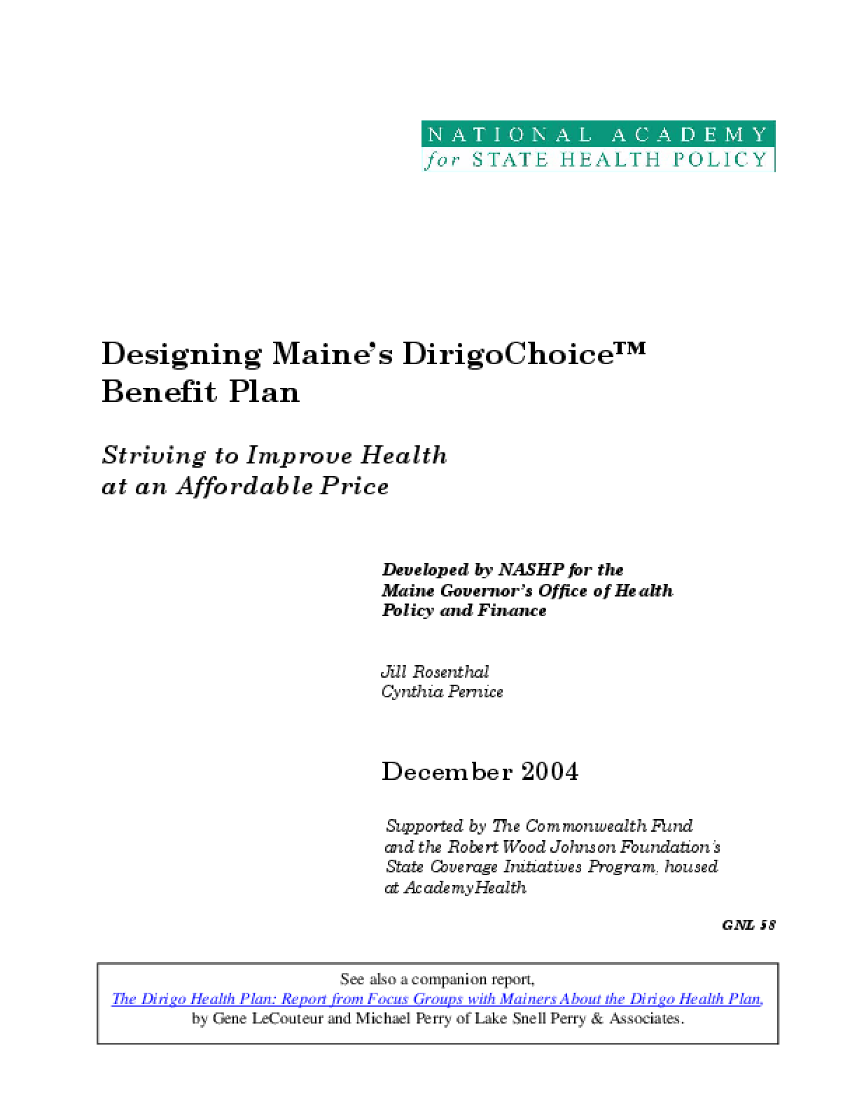 Designing Maine's DirigoChoice Benefit Plan