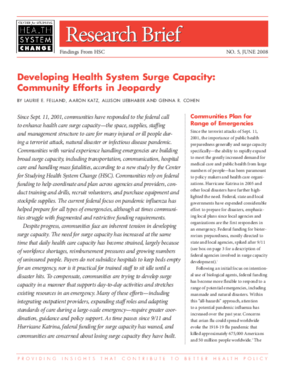 Developing Health System Surge Capacity: Community Efforts in Jeopardy