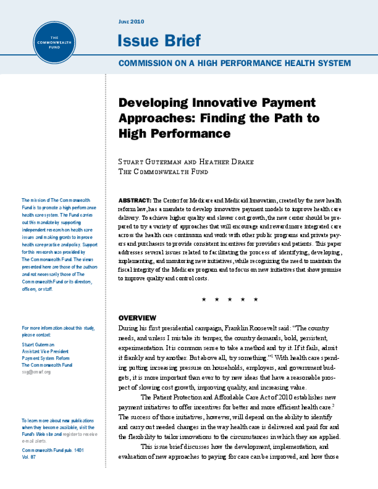 Developing Innovative Payment Approaches: Finding the Path to High Performance