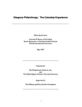 Diaspora Philanthropy: The Colombia Experience