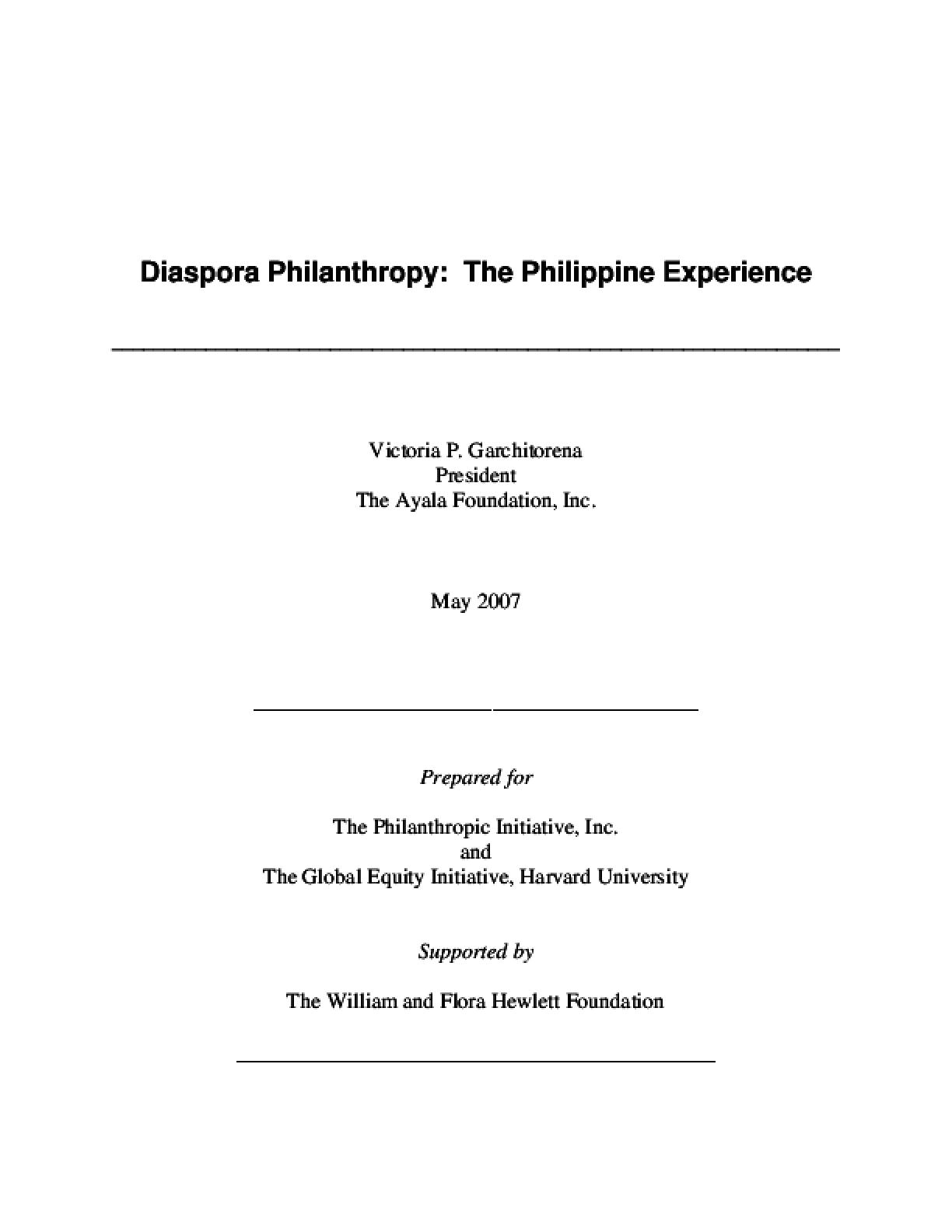 Diaspora Philanthropy: The Philippine Experience