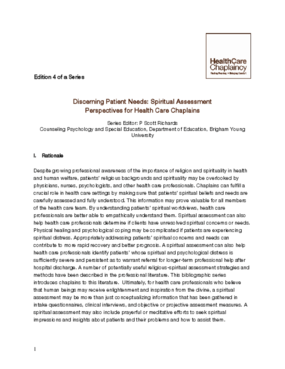 Discerning Patient Needs: Spiritual Assessment: Perspectives for Health Care Chaplains
