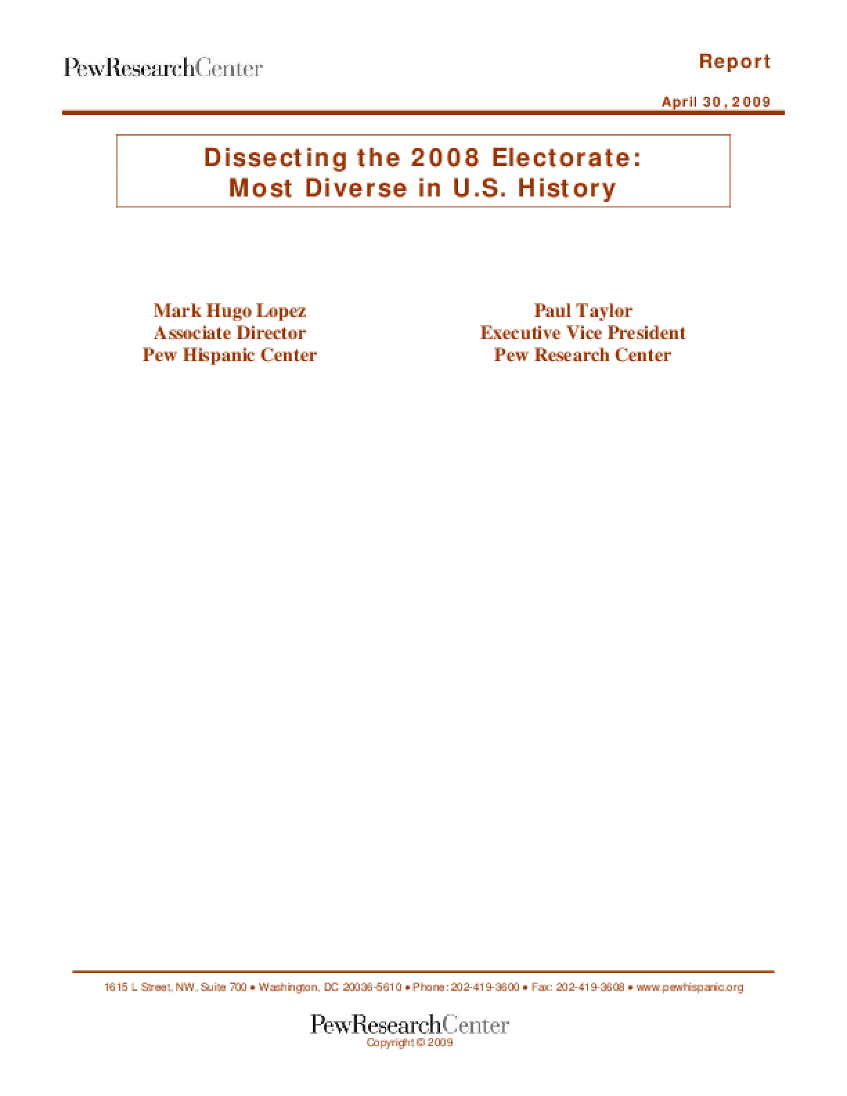 Dissecting the 2008 Electorate: Most Diverse in U.S. History