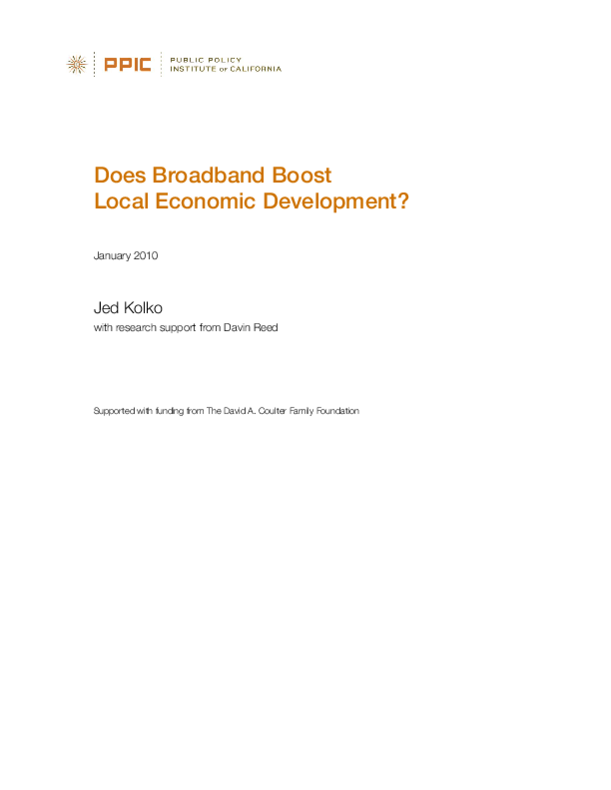 Does Broadband Boost Local Economic Development?