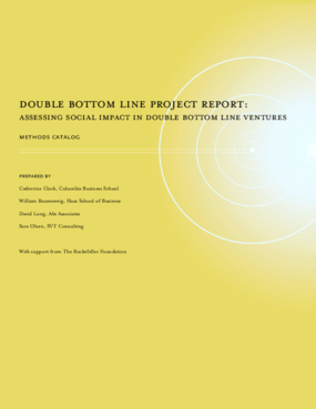 Double Bottom Line Progress Report: Assessing Social Impact in Double Bottom Line Ventures, Methods Catalog