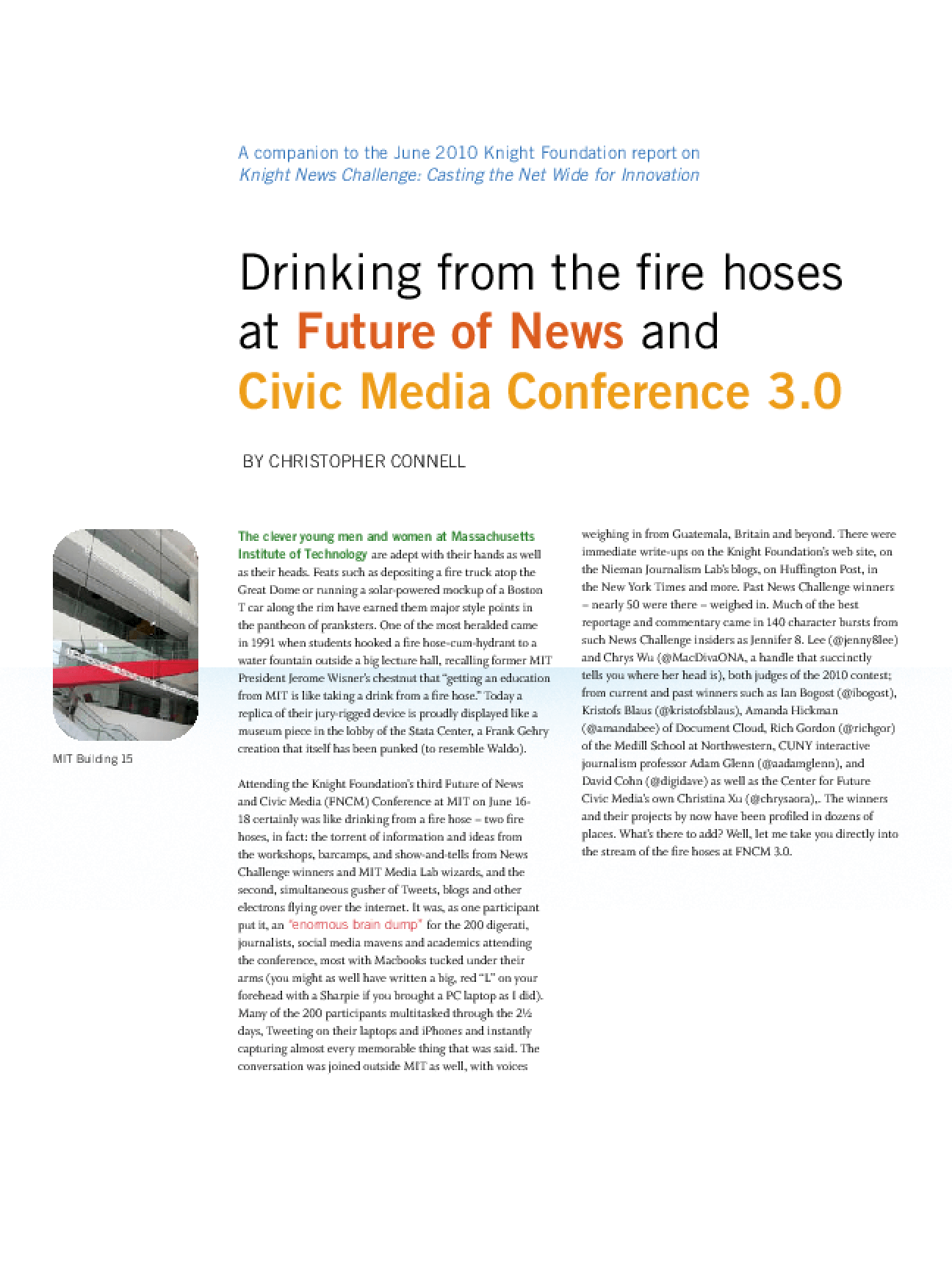 Drinking From the Fire Hoses at Future of News and Civic Media Conference 3.0