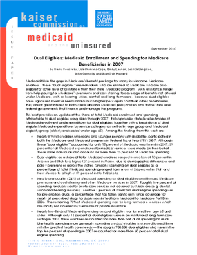 Dual Eligibles: Medicaid Enrollment and Spending for Medicare Beneficiaries in 2007